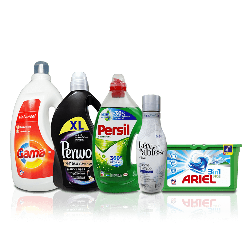 Washing gels, liquids and capsules - imported household chemicals